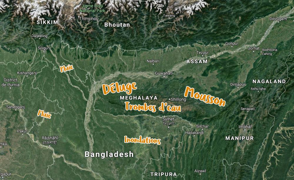 Carte du Meghalaya