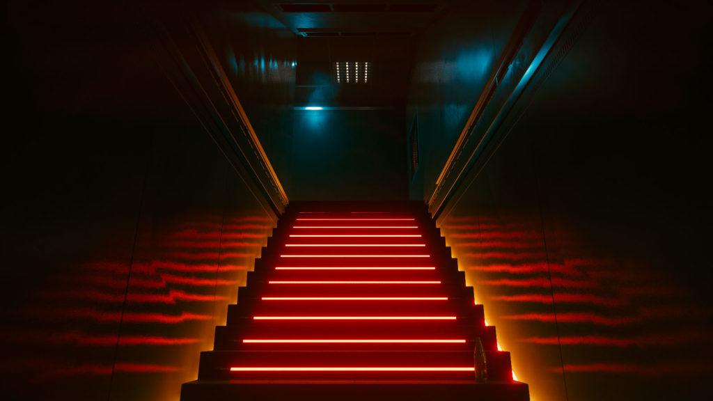 Néons sur escaliers
